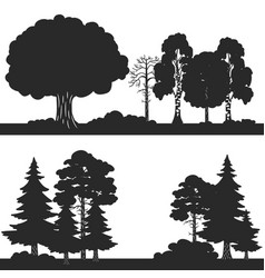 black forest trees set silhouettes vector image
