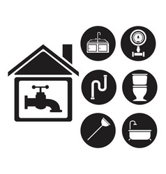 Black silhouette house with faucet and set icons vector