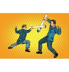Businessmen fencing competition ideas vector