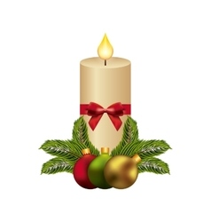 Candle and spheres icon Merry Christmas design vector image
