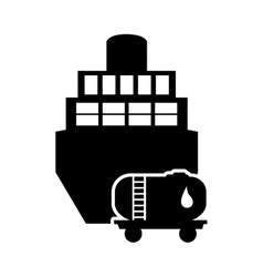 Cargo ship and fuel tank icon vector