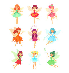 Cartoon fairies characters fairy creatures with vector