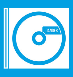 Cd with danger lettering icon white vector
