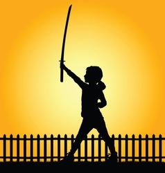 Child with sword in nature vector