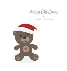 Christmas card with isolated teddy bear vector