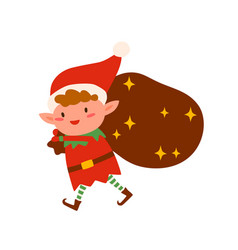 christmas elf carry bag with gifts flat vector image