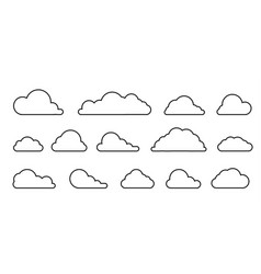 Cloud with a black outline in a linear style vector