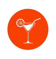 cocktail glass icon placed in bright red circle vector image