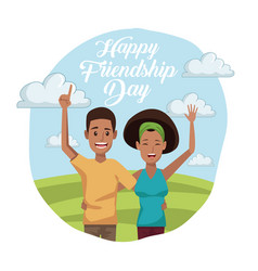 Colorful card of happy friendship day with couple vector