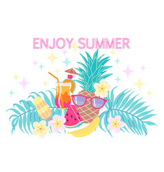 Colorful enjoy summer composition vector