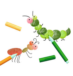 Coloring book with caterpillar ant insects colored vector
