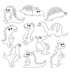 coloring book with dinosaurs vector image