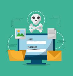 computer technology login password skull danger vector image