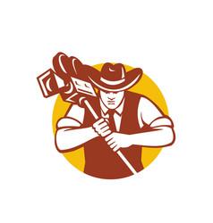 cowboy camera operator mascot vector image