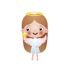 cute girl long hair angel with pink wings vector image