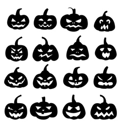 Decoration cheerful pumpkins silhouette vector