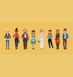 diverse group casually clothed people vector image