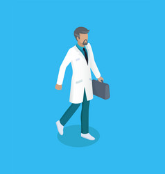 Doctor with briefcase icon vector