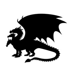 dragon fantastic silhouette symbol mythology vector image
