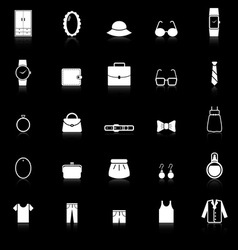 Dressing icons with reflect on black background vector