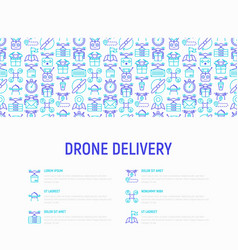 Drone delivery concept with thin line icons vector