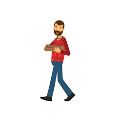 Flat young lumberjack with beard in red plaid vector