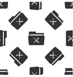 folder and tools or settings icon seamless pattern vector image