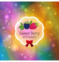 Fruits Label on Bright Abstract Bokeh Background vector image