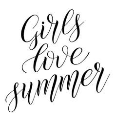 Girls love summer child short encouraging phrase vector