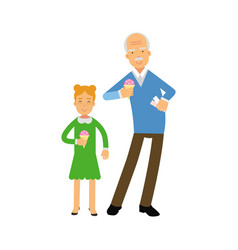 Grandfather and granddaughter characters eating vector