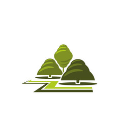 Green tree park landscape gardening icon vector