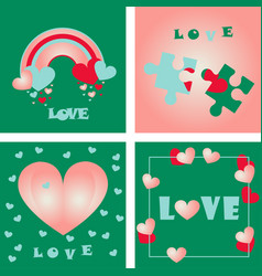 greeting card of hearts vector image