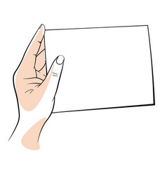 hand holding a clear white blank sheet paper vector image