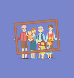 happy big family father mother kids vector image