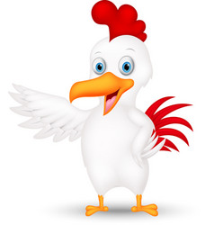 happy chicken cartoon presenting vector image