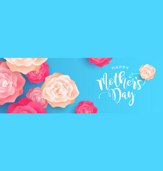 happy mothers day web banner with rose flowers vector image