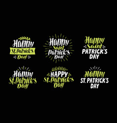 happy saint patricks day label set beer festival vector image