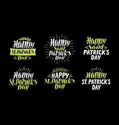 Happy saint patricks day label set beer festival vector