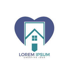 house and heart logo design vector image