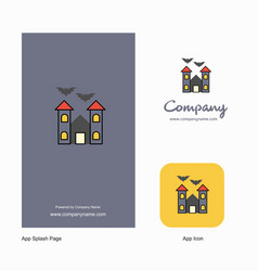 hunted house company logo app icon and splash vector image