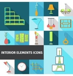 Interior Elements Flat vector