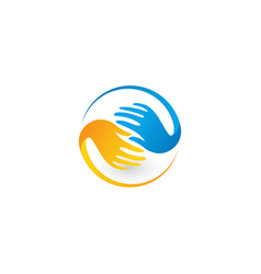 isolated colorful hands logo global vector image
