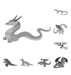 Isolated object wild and mythical sign set of vector