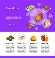isometric hotel icons template vector image