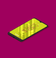 isometric icon mobile phone in flat style vector image