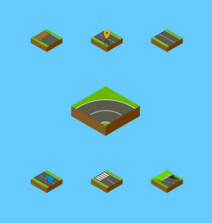 Isometric road set of underground flat strip and vector