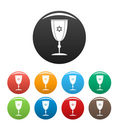 Judaism cup icons set color vector