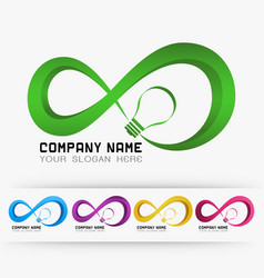 Logo infinity with light lamp vector