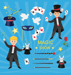 Magicians with hat and playing cards and vector
