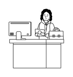 Man in a desk black and white vector